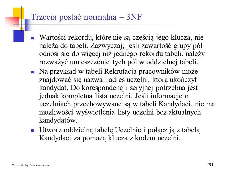 Trzecia postać normalna – 3NF