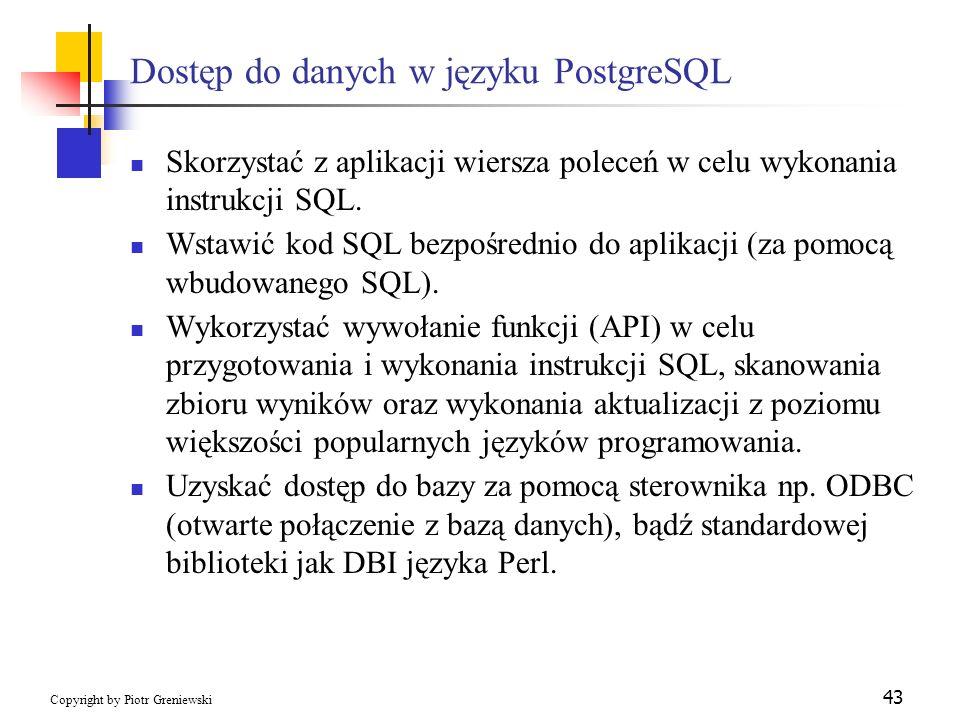 Dostęp do danych w języku PostgreSQL