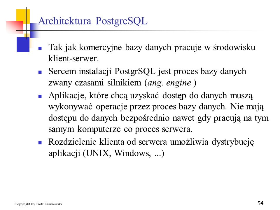 Architektura PostgreSQL