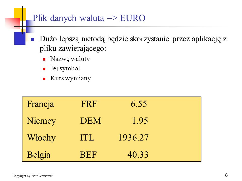 Plik danych waluta => EURO