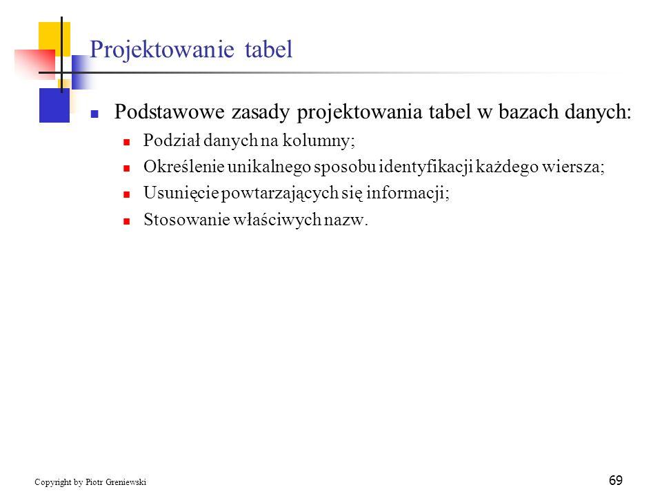 Projektowanie tabel Podstawowe zasady projektowania tabel w bazach danych: Podział danych na kolumny;