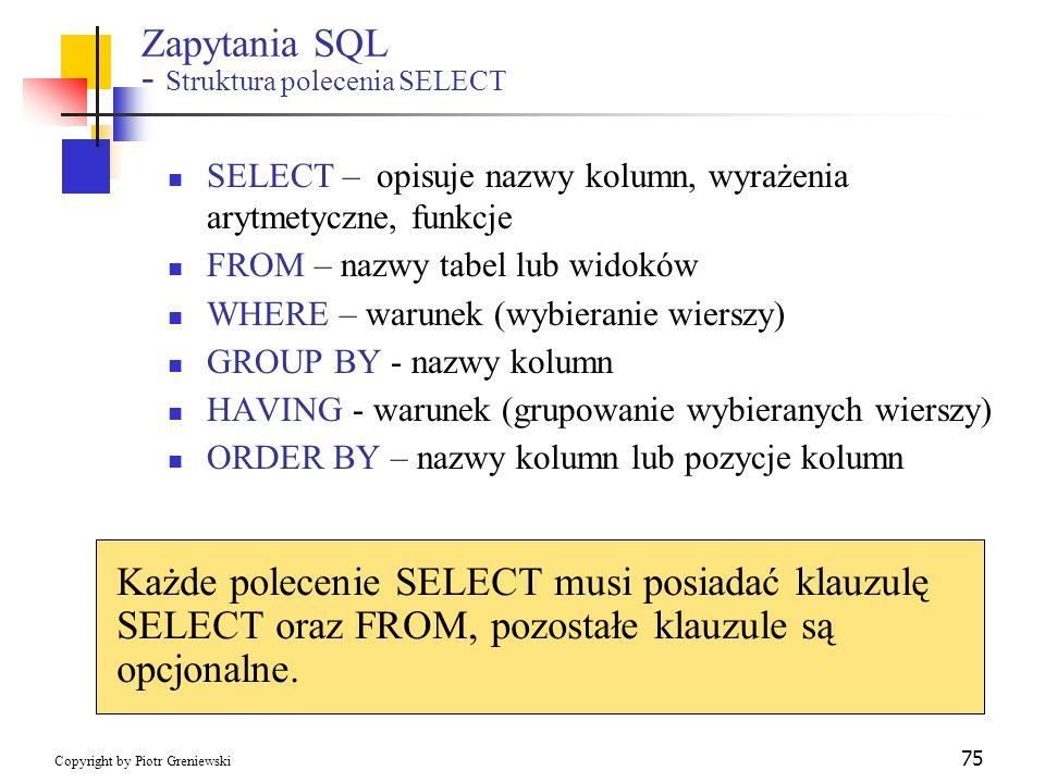 Zapytania SQL - Struktura polecenia SELECT