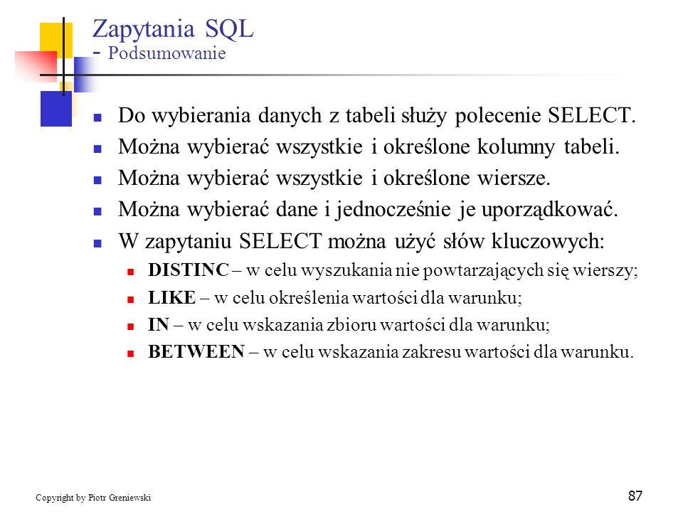 Zapytania SQL - Podsumowanie
