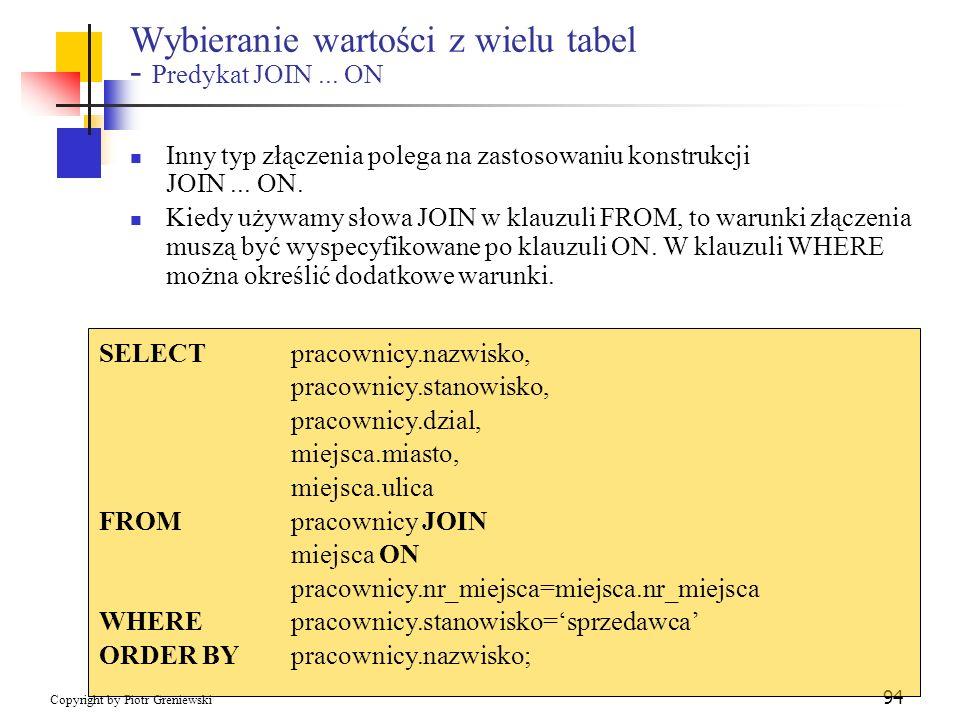 Wybieranie wartości z wielu tabel - Predykat JOIN ... ON