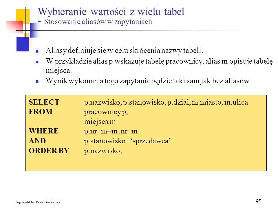 Wybieranie wartości z wielu tabel - Stosowanie aliasów w zapytaniach