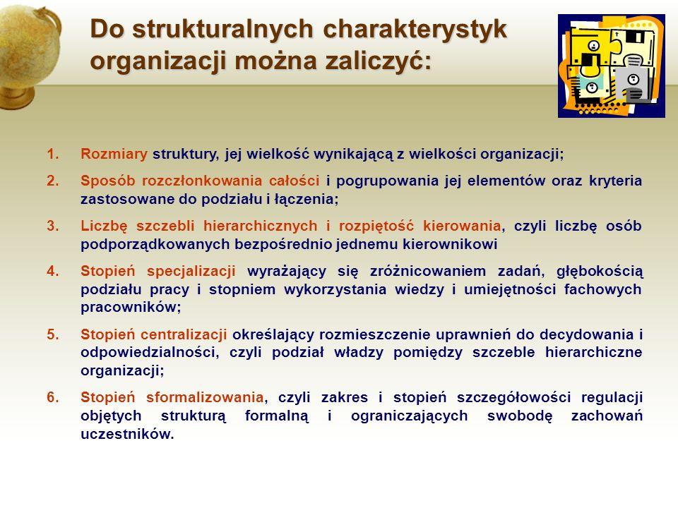 Do strukturalnych charakterystyk organizacji można zaliczyć: