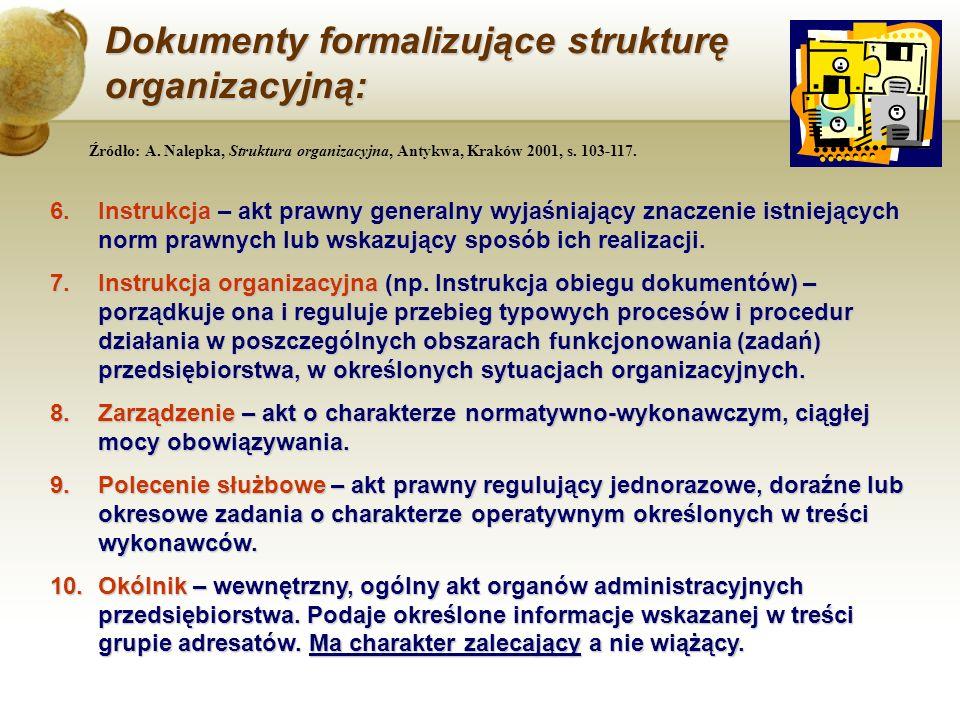 Dokumenty formalizujące strukturę organizacyjną: