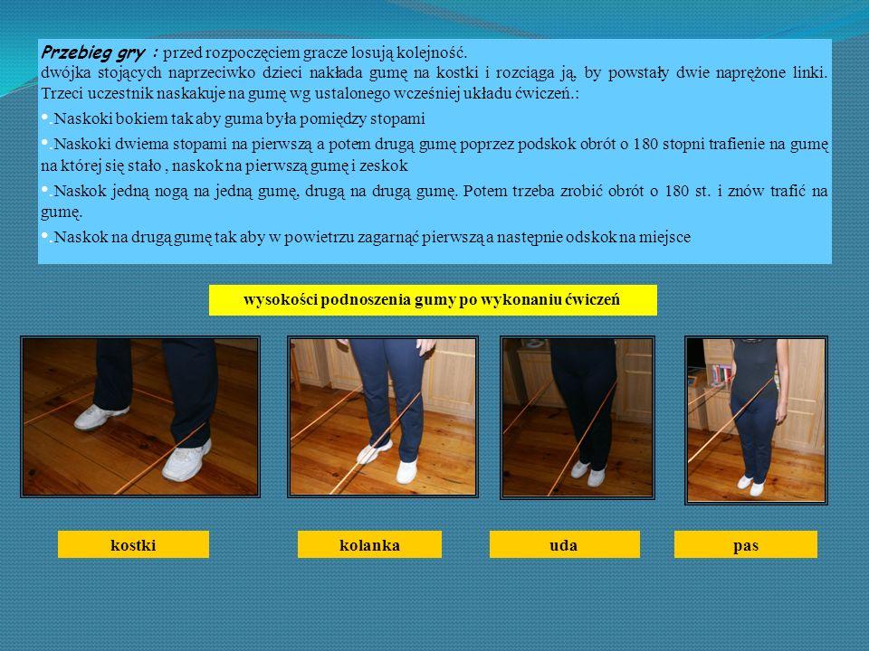 wysokości podnoszenia gumy po wykonaniu ćwiczeń