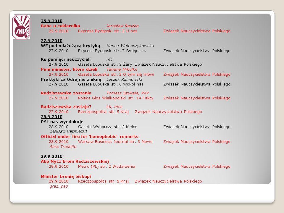 25.9.2010 Baba u cukiernika Jarosław Reszka. 25.9.2010 Express Bydgoski str. 2 U nas Związek Nauczycielstwa Polskiego.