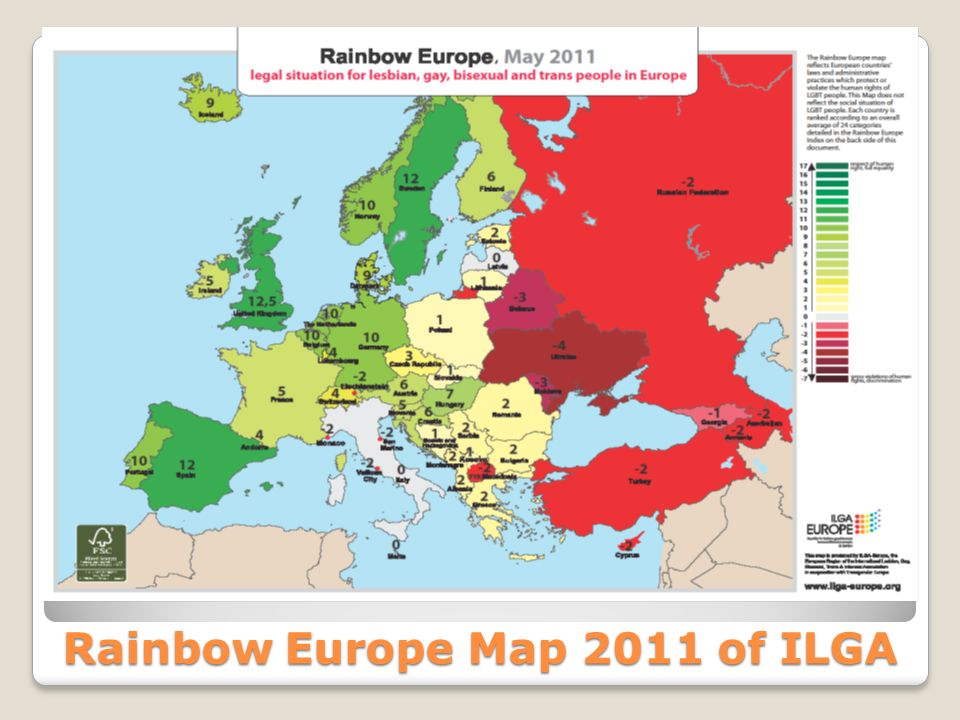 Rainbow Europe Map 2011 of ILGA