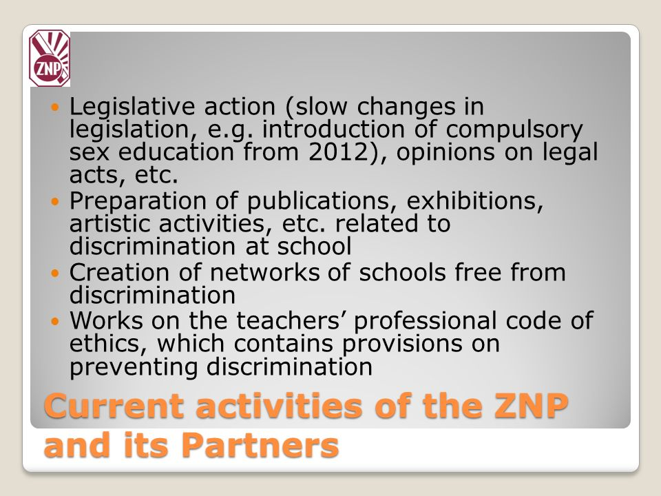 Current activities of the ZNP and its Partners