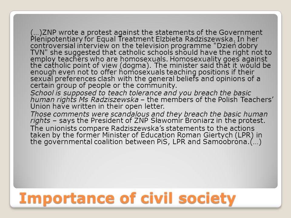 Importance of civil society