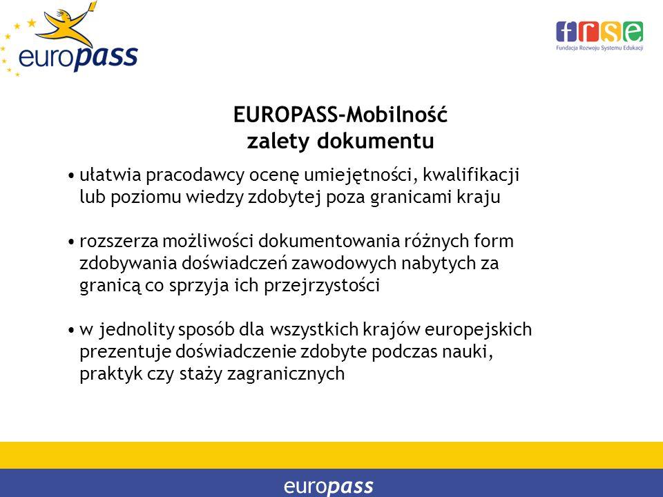 EUROPASS-Mobilność zalety dokumentu