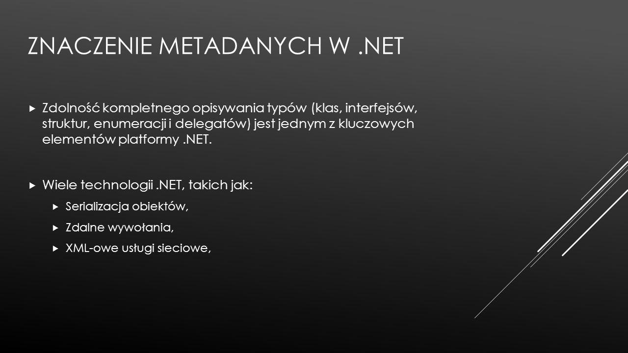 Znaczenie Metadanych w .Net