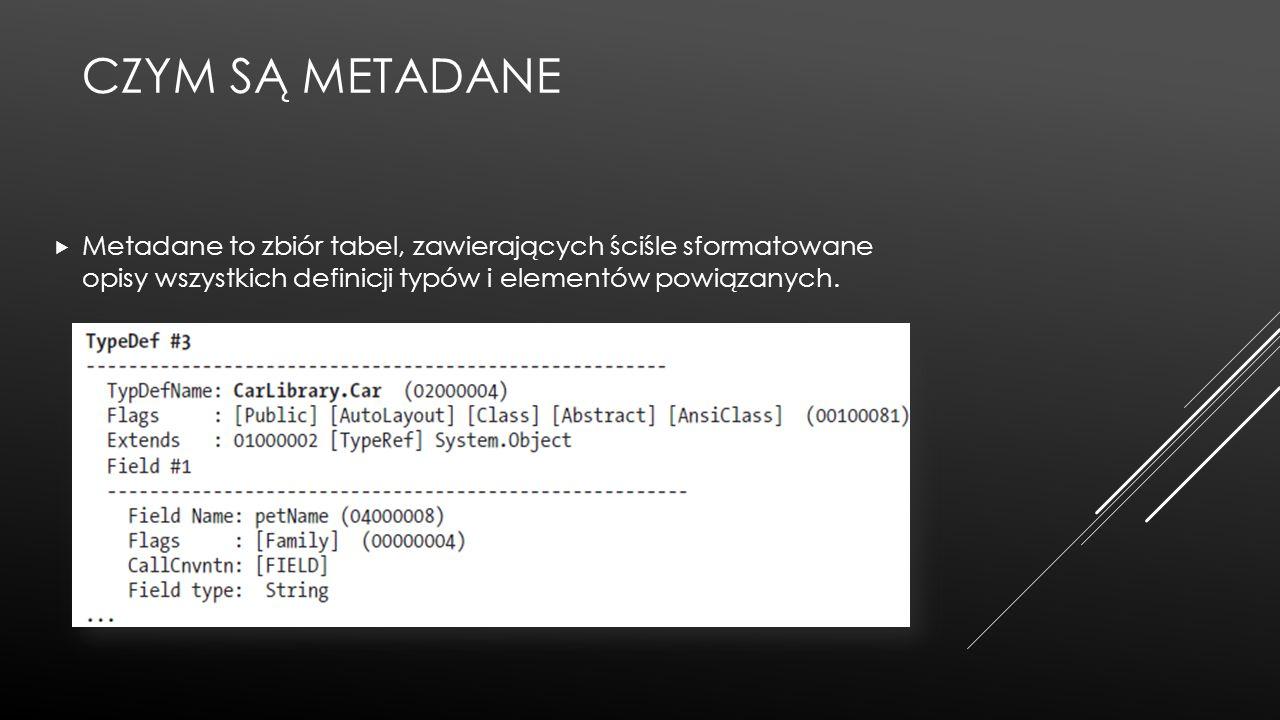 Czym są metadane Metadane to zbiór tabel, zawierających ściśle sformatowane opisy wszystkich definicji typów i elementów powiązanych.