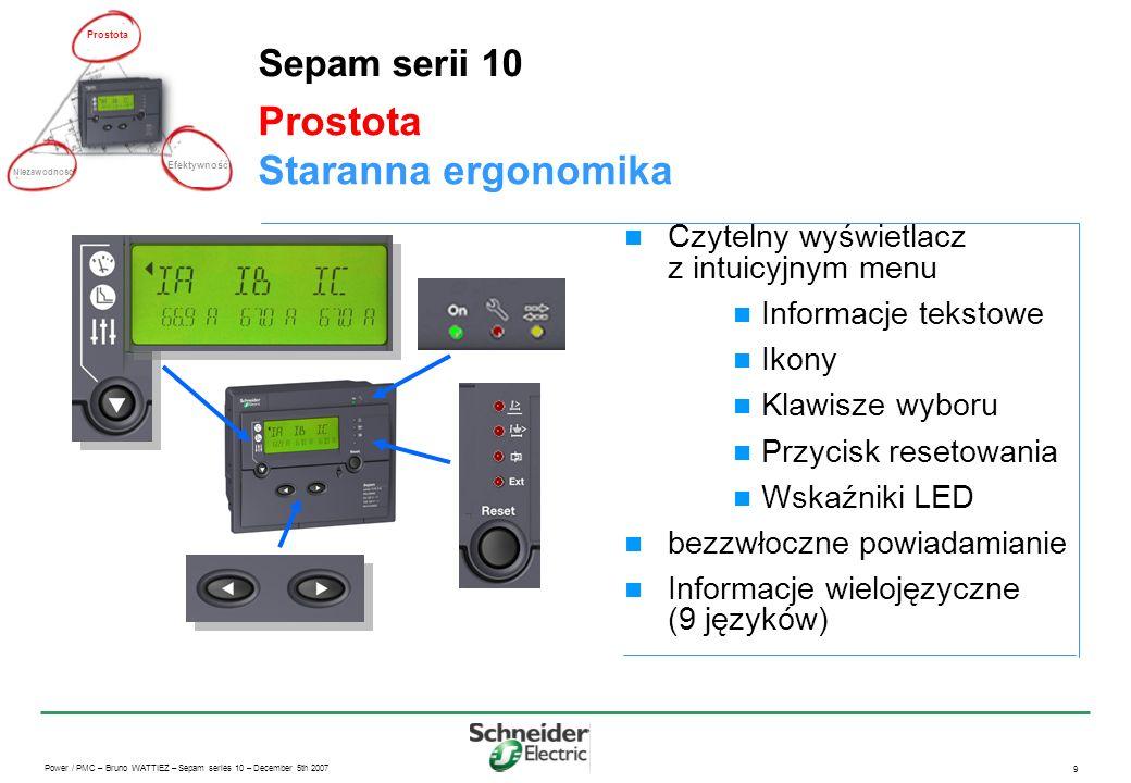 Prostota Staranna ergonomika Sepam serii 10