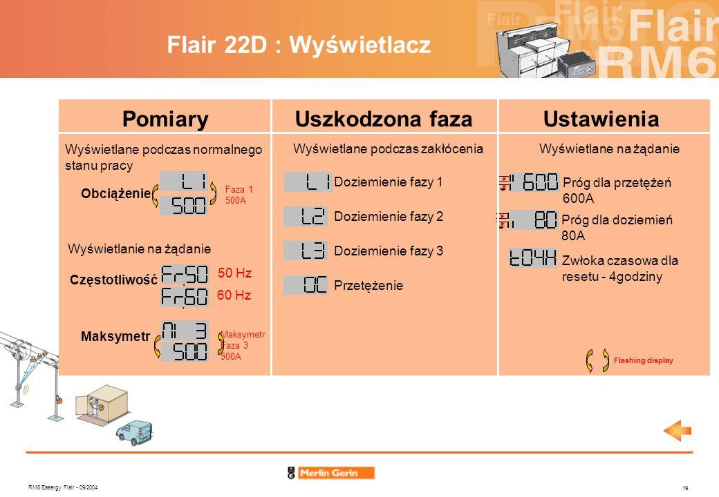 Flair 22D : Wyświetlacz Pomiary Uszkodzona faza Ustawienia