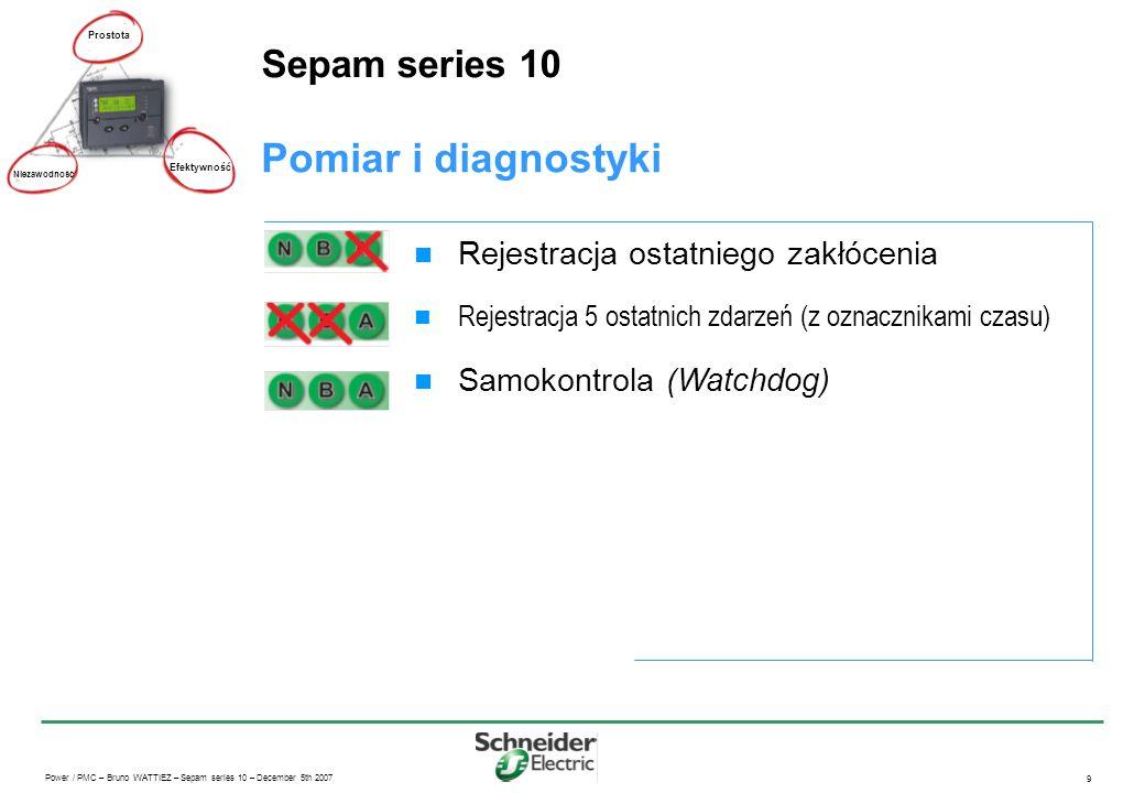 Pomiar i diagnostyki Sepam series 10 Rejestracja ostatniego zakłócenia