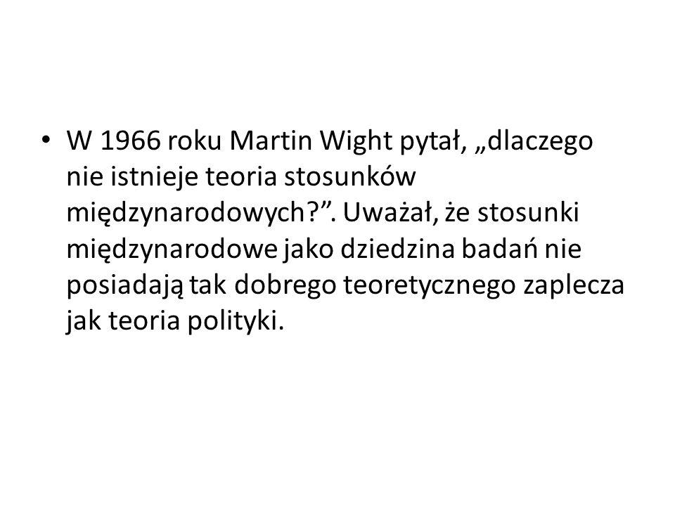 """W 1966 roku Martin Wight pytał, """"dlaczego nie istnieje teoria stosunków międzynarodowych ."""