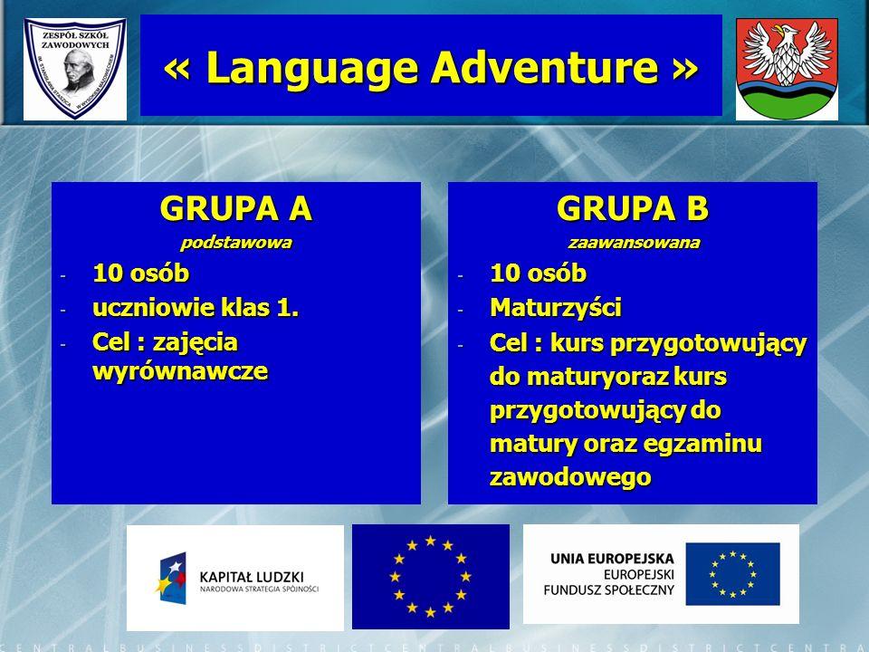 « Language Adventure » GRUPA A GRUPA B 10 osób uczniowie klas 1.