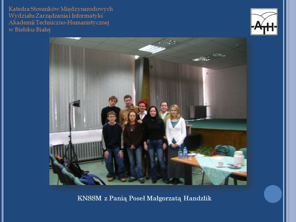KNSSM z Panią Poseł Małgorzatą Handzlik