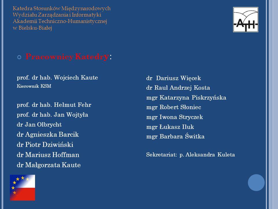 Pracownicy Katedry: dr Agnieszka Barcik dr Piotr Dziwiński