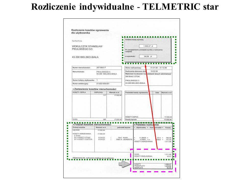 Rozliczenie indywidualne - TELMETRIC star