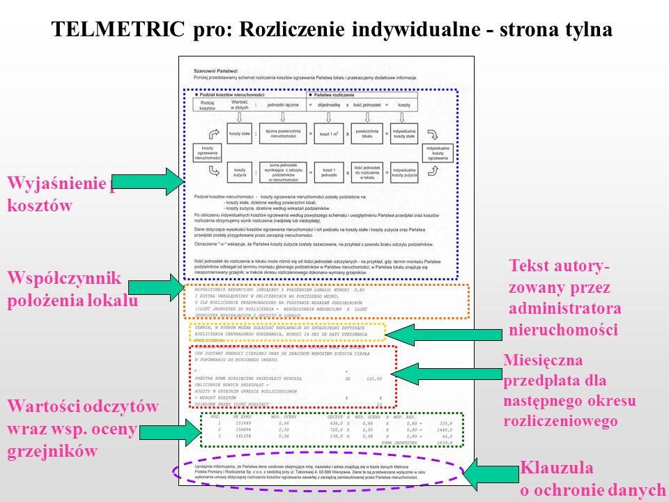 TELMETRIC pro: Rozliczenie indywidualne - strona tylna