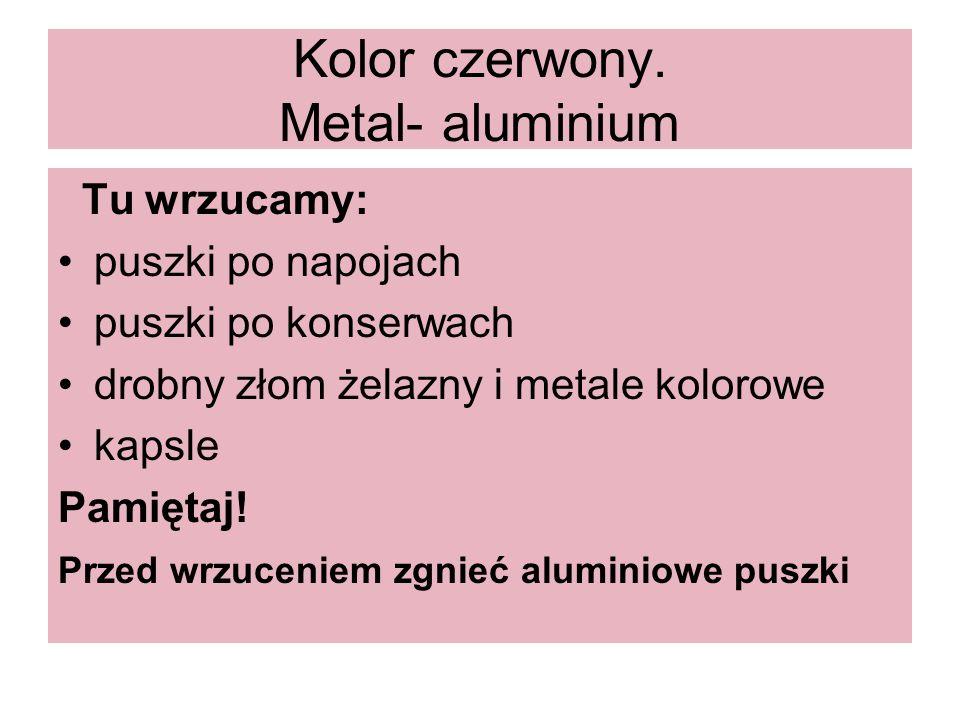 Kolor czerwony. Metal- aluminium