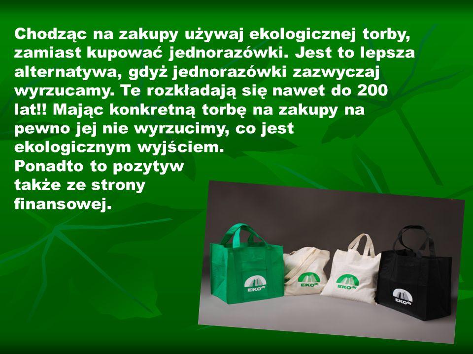 Chodząc na zakupy używaj ekologicznej torby, zamiast kupować jednorazówki. Jest to lepsza alternatywa, gdyż jednorazówki zazwyczaj wyrzucamy. Te rozkładają się nawet do 200 lat!! Mając konkretną torbę na zakupy na pewno jej nie wyrzucimy, co jest