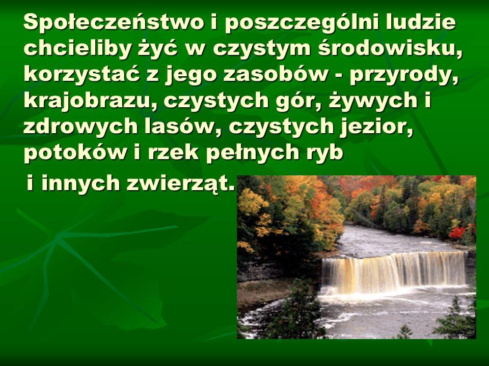 Społeczeństwo i poszczególni ludzie chcieliby żyć w czystym środowisku, korzystać z jego zasobów - przyrody, krajobrazu, czystych gór, żywych i zdrowych lasów, czystych jezior, potoków i rzek pełnych ryb