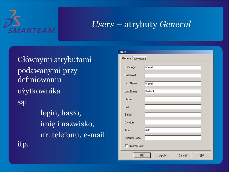 Users – atrybuty General