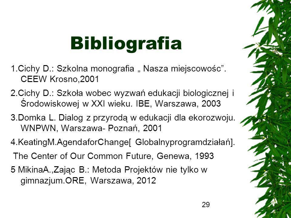 """Bibliografia 1.Cichy D.: Szkolna monografia """" Nasza miejscowośc . CEEW Krosno,2001."""
