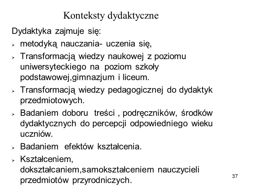 Konteksty dydaktyczne