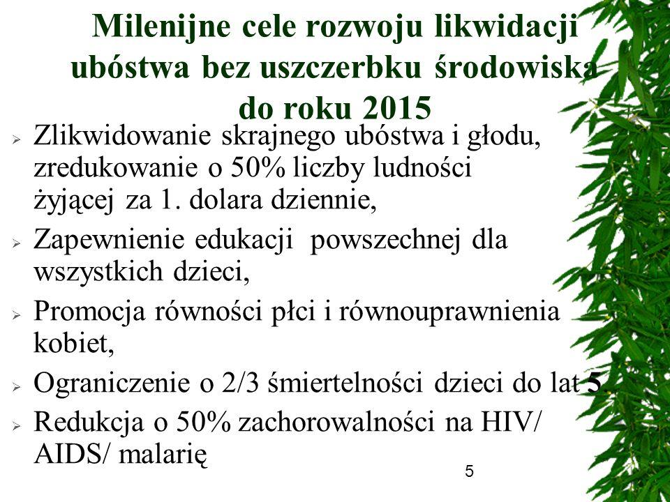 Milenijne cele rozwoju likwidacji ubóstwa bez uszczerbku środowiska do roku 2015