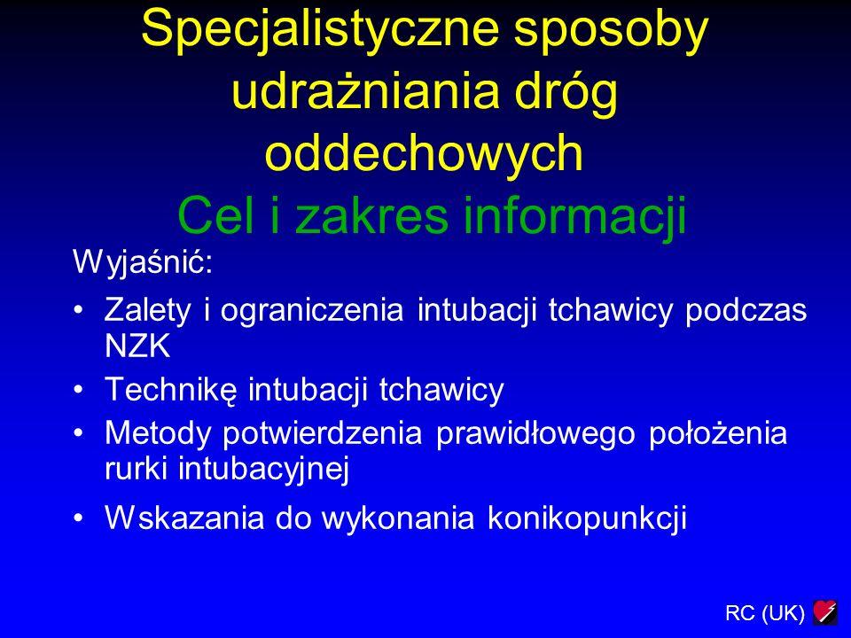 Specjalistyczne sposoby udrażniania dróg oddechowych Cel i zakres informacji