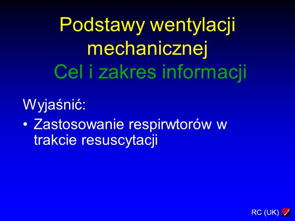 Podstawy wentylacji mechanicznej Cel i zakres informacji