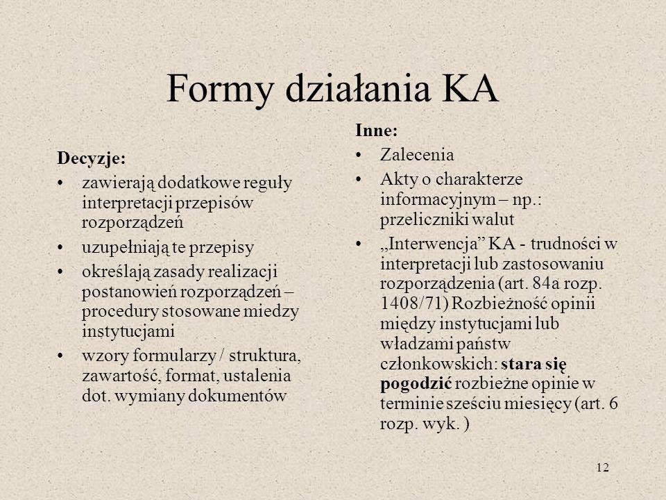 Formy działania KA Inne: Zalecenia