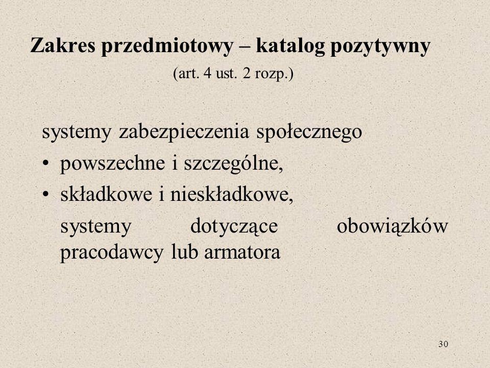 Zakres przedmiotowy – katalog pozytywny (art. 4 ust. 2 rozp.)