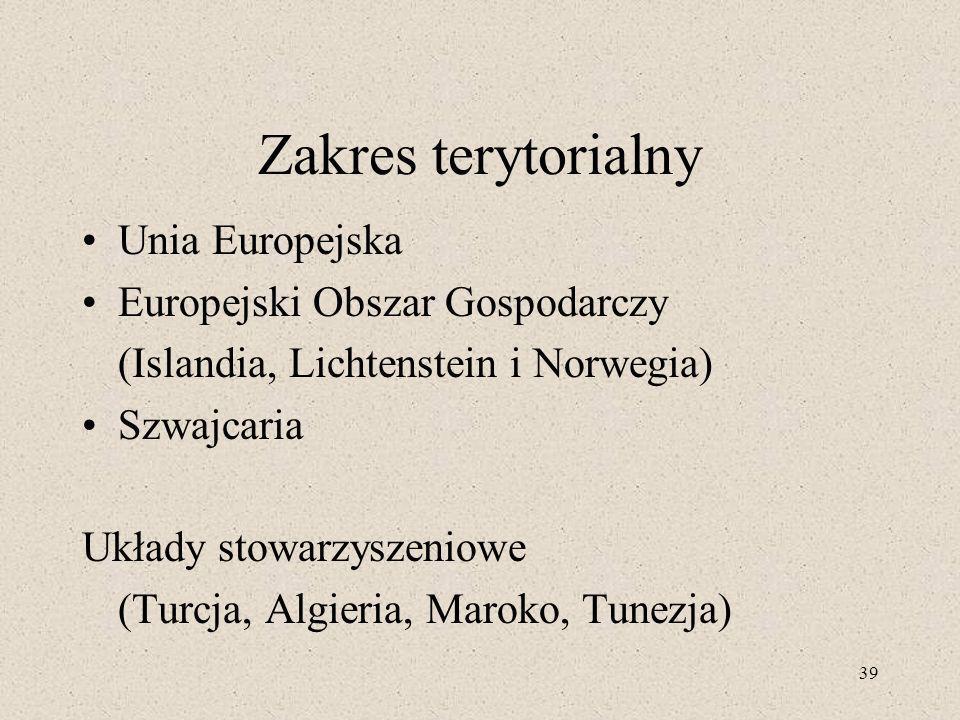 Zakres terytorialny Unia Europejska Europejski Obszar Gospodarczy