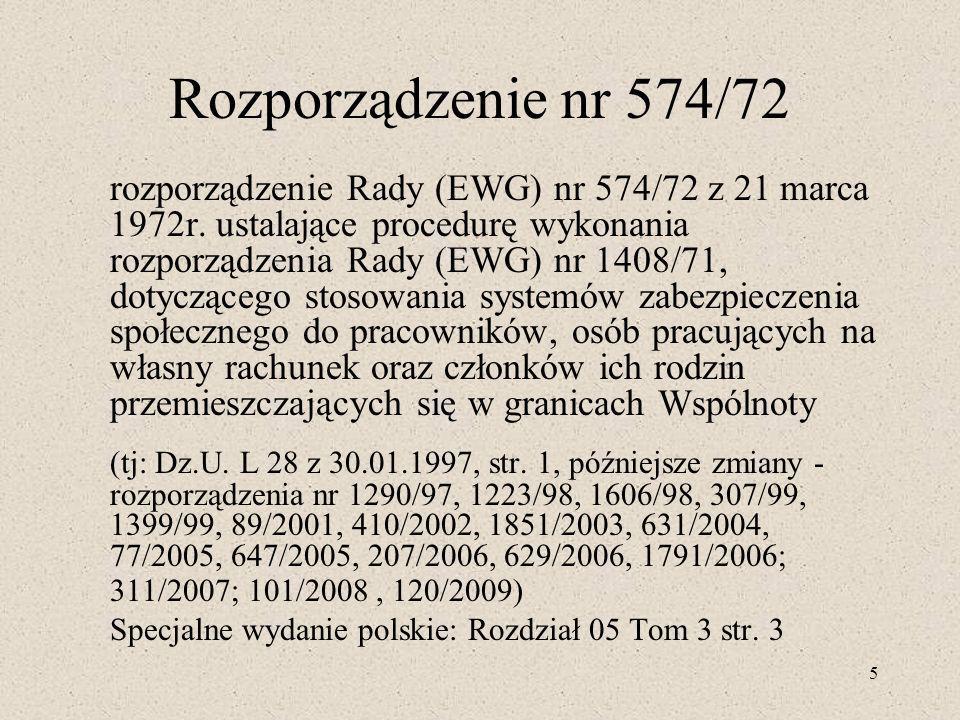 Rozporządzenie nr 574/72