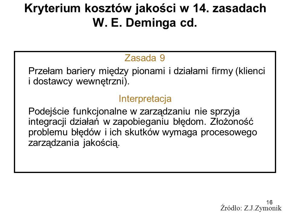 Kryterium kosztów jakości w 14. zasadach W. E. Deminga cd.