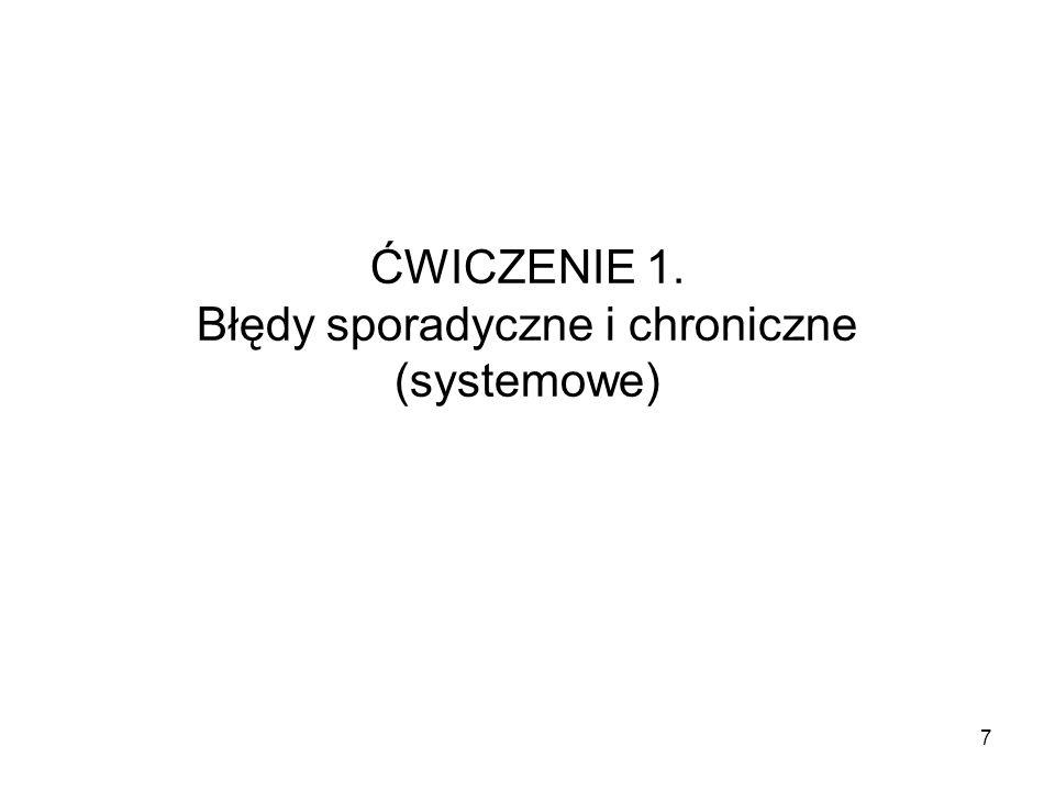 ĆWICZENIE 1. Błędy sporadyczne i chroniczne (systemowe)