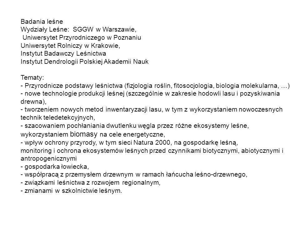 Badania leśne Wydziały Leśne: SGGW w Warszawie, Uniwersytet Przyrodniczego w Poznaniu. Uniwersytet Rolniczy w Krakowie,