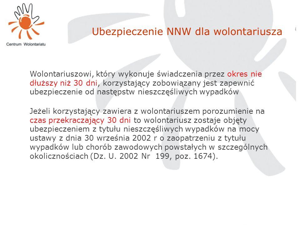 Ubezpieczenie NNW dla wolontariusza