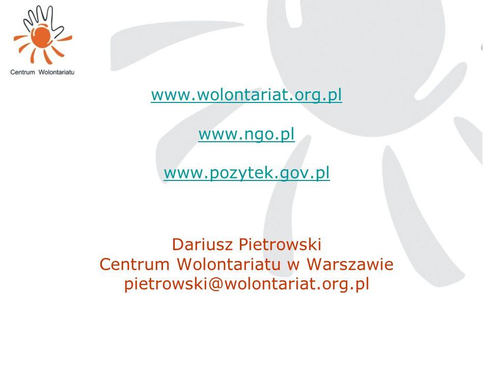 www. wolontariat. org. pl www. ngo. pl www. pozytek. gov