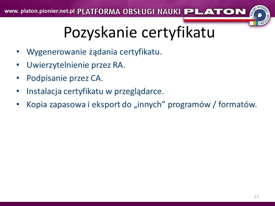 Pozyskanie certyfikatu