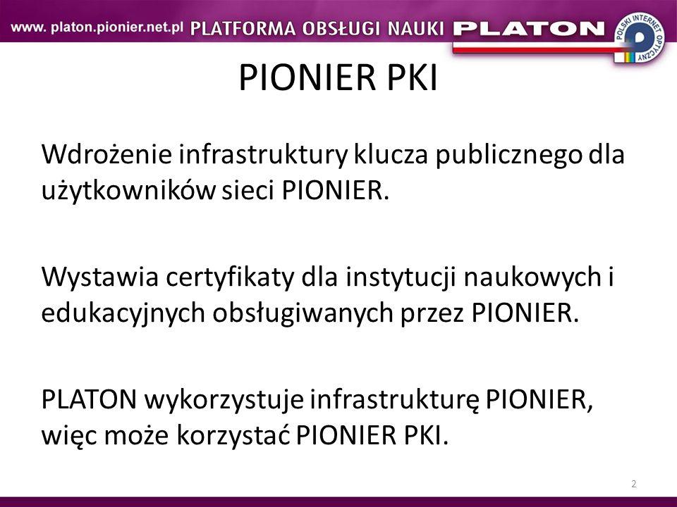 PIONIER PKI Wdrożenie infrastruktury klucza publicznego dla użytkowników sieci PIONIER.