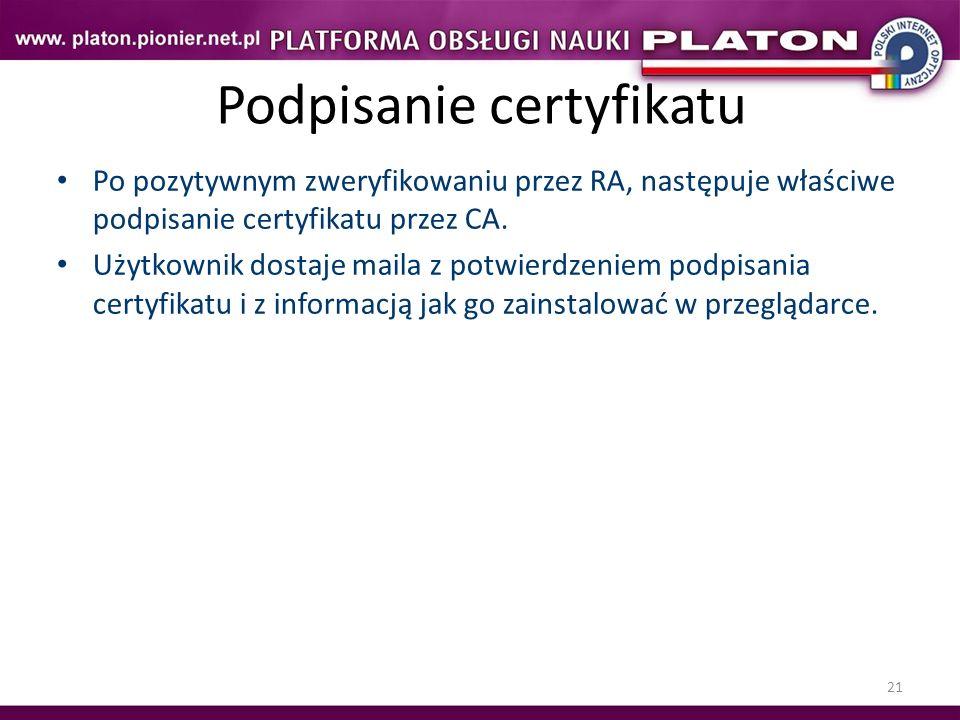 Podpisanie certyfikatu