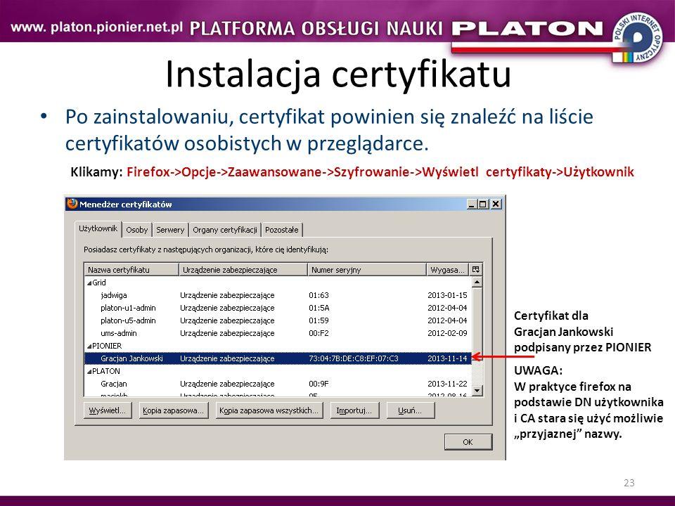 Instalacja certyfikatu